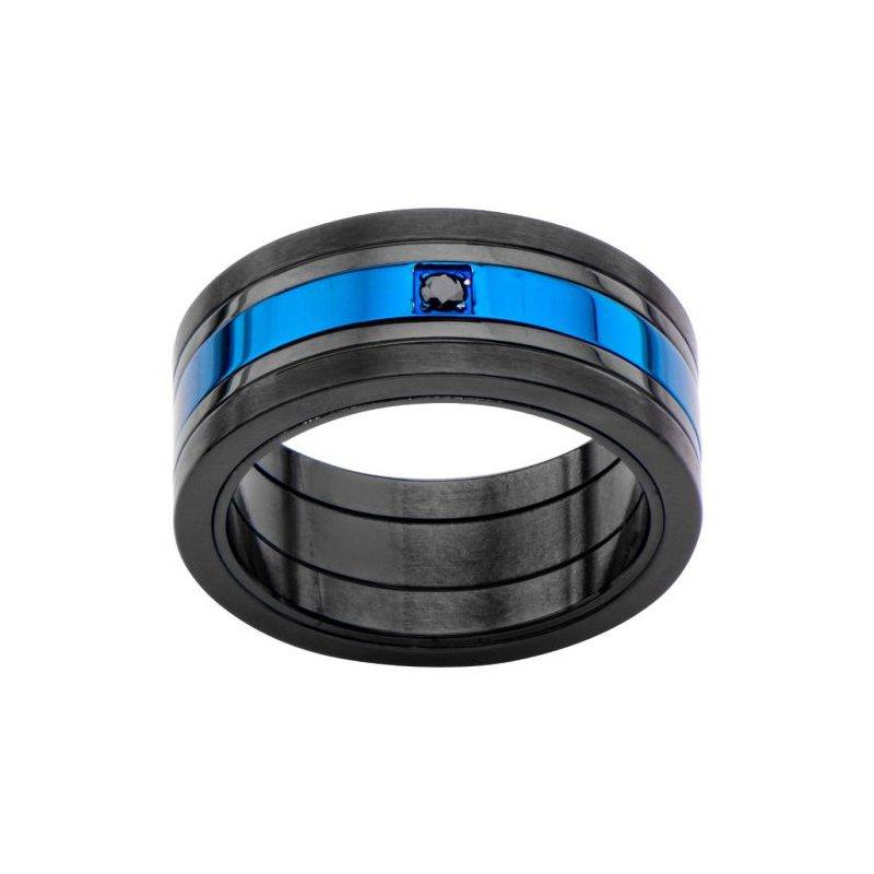 INOX Men's Jewelry Matte Black & Blue Plated w/ Black CZ Ring
