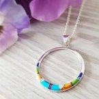 Arizona Turquoise and Inlaid Jewelry Multicolored Open Circle Pendant