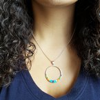 Arizona Turquoise and Inlaid Jewelry Multicolored Open Circle Pendant