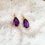 Arizona Amethyst™ Gold Jewelry Pear Drop Studs