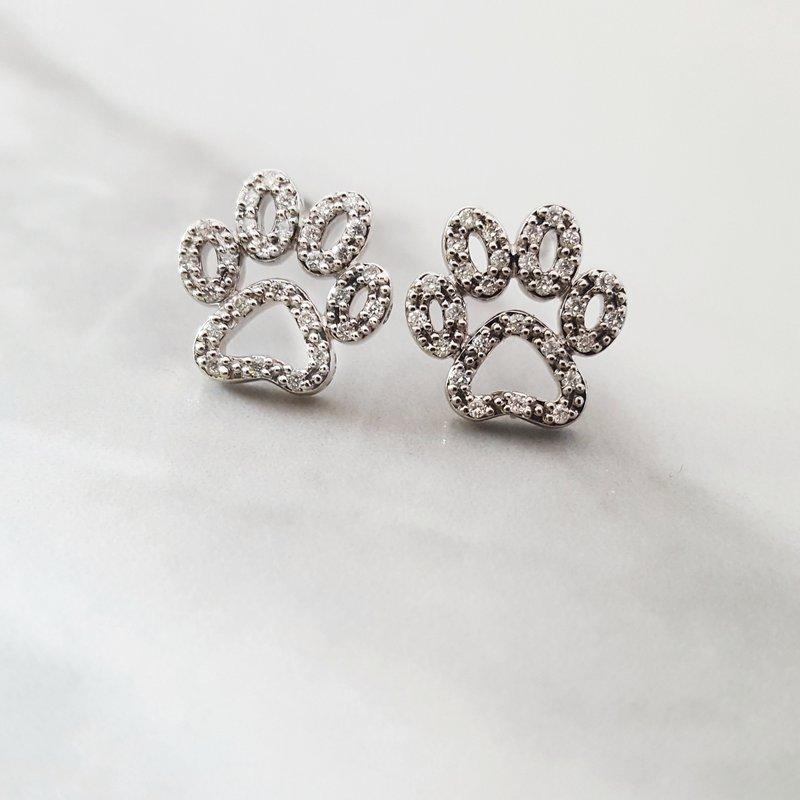 Sami Fine Jewelry Diamond Paw Print Studs