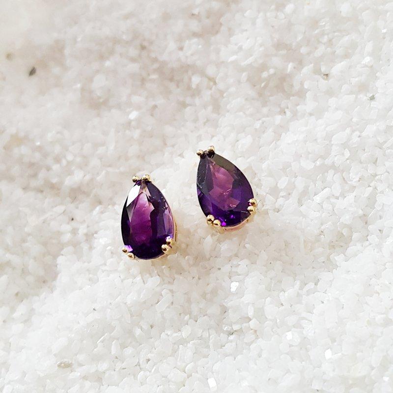 Arizona Amethyst™ Gold Jewelry Pear Double Prong Studs