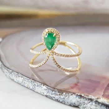Chevron Emerald Ring