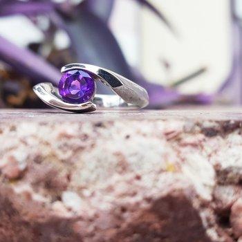 AZ Amethyst Silver Ring