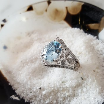 Round Vintage Inspired Aquamarine Closeout Ring