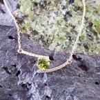 Arizona Peridot Gold Jewelry Bypass Bar Pendant