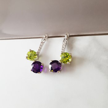 Amethyst and Peridot Dangles