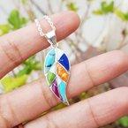 Arizona Turquoise and Inlaid Jewelry Multicolored Small Leaf Pendant