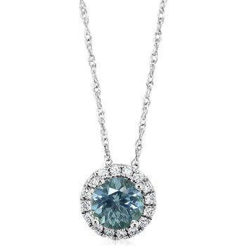 Montana Sapphire Halo Necklace