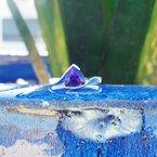 Arizona Amethyst™ Gold Jewelry Bypass Half Bezel Ring