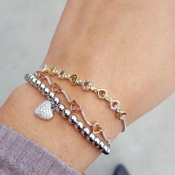 Diamond Antique Style Bead Bolo Bracelet in Sterling SIlver - Adjustable