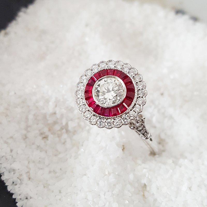 Sami Fine Jewelry Round Ruby Vintage Ring