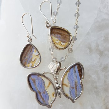 Butterfly Pendant and Earring Set