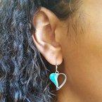 Arizona Turquoise and Inlaid Jewelry Open Heart Dangle Earrings