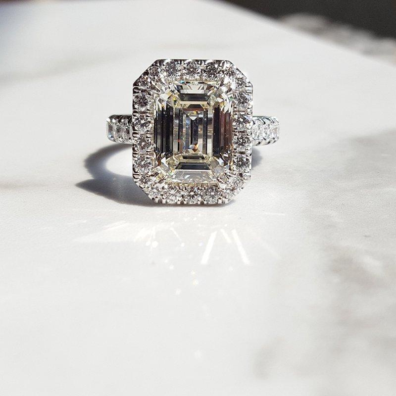 Sami Fine Jewelry Custom Emerald Cut Engagement Ring