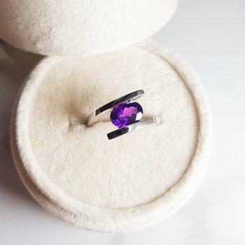 Silver Amethyst Swirl Ring