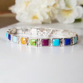 Multi-Gem Square Link Bracelet