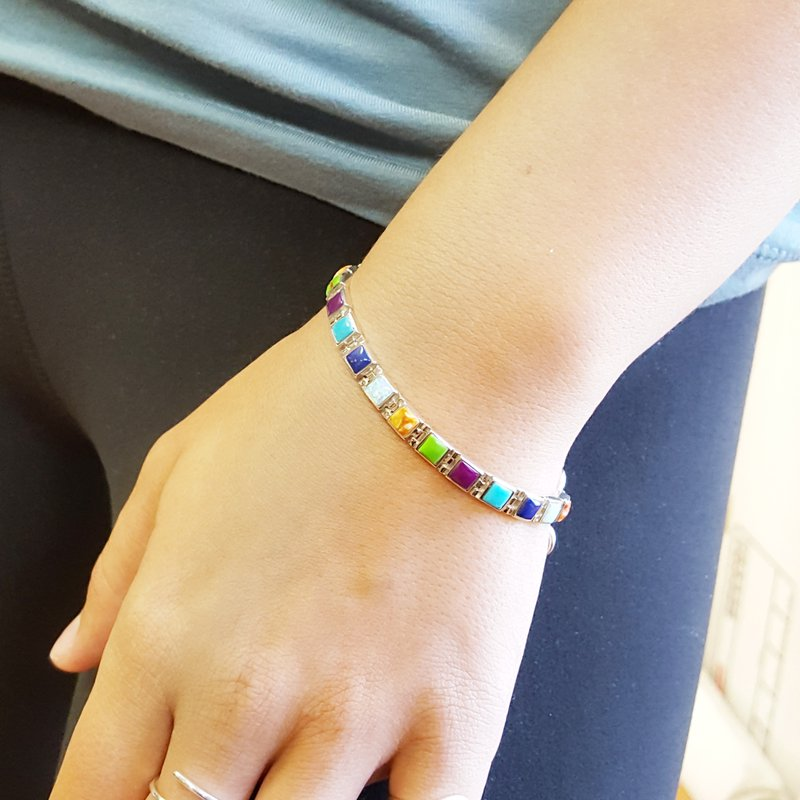 Arizona Turquoise and Inlaid Jewelry Multi-Gem Square Link Bracelet