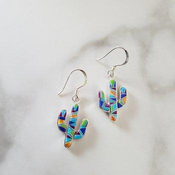 Multicolored Saguaro Cactus Dangle Earrings
