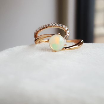 Natural Cut Opal Ring