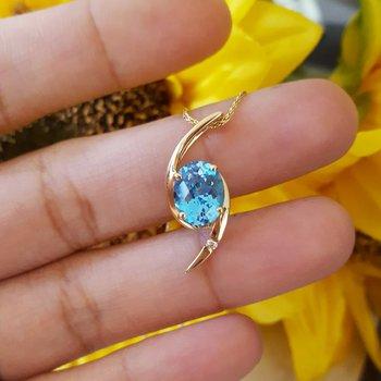Blue Topaz Swirl Necklace