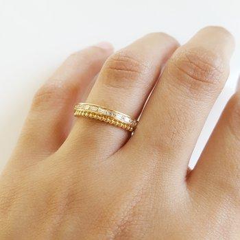 Diamond Beaded Row Ring