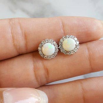 Opal Halo Studs