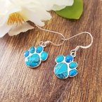 Arizona Turquoise and Inlaid Jewelry Paw Print Earrings