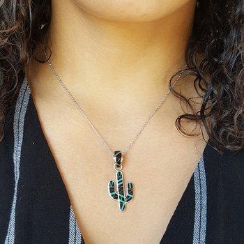 Onyx and Opal Saguaro Cactus Pendant