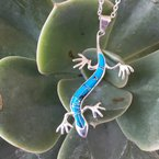 Arizona Turquoise and Inlaid Jewelry Gecko Pendant