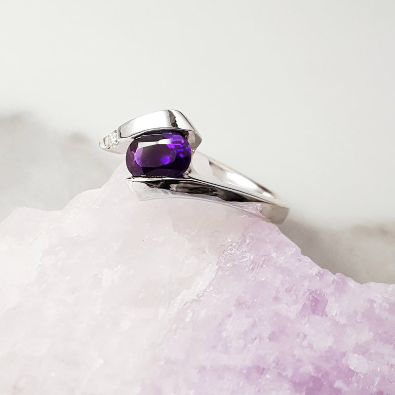 Arizona Amethyst™ Silver Jewelry Arizona Amethyst Wide Bypass Ring