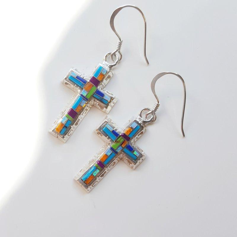 Arizona Turquoise and Inlaid Jewelry Multicolored Modern Cross Earrings