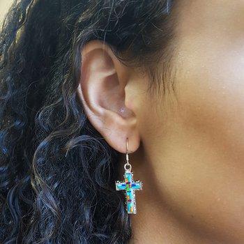 Multicolored Modern Cross Earrings