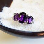 Arizona Amethyst™ Gold Jewelry Three Stone Amethyst Ring