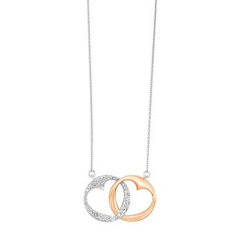 Double Heart Diamond Necklace