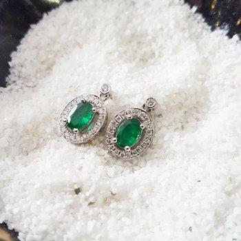 Oval Emerald Dangle Earrings