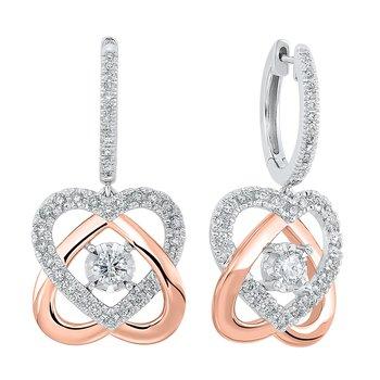 Diamond Love Knot Heart Pendant Earrings in 14k Two Tone Gold