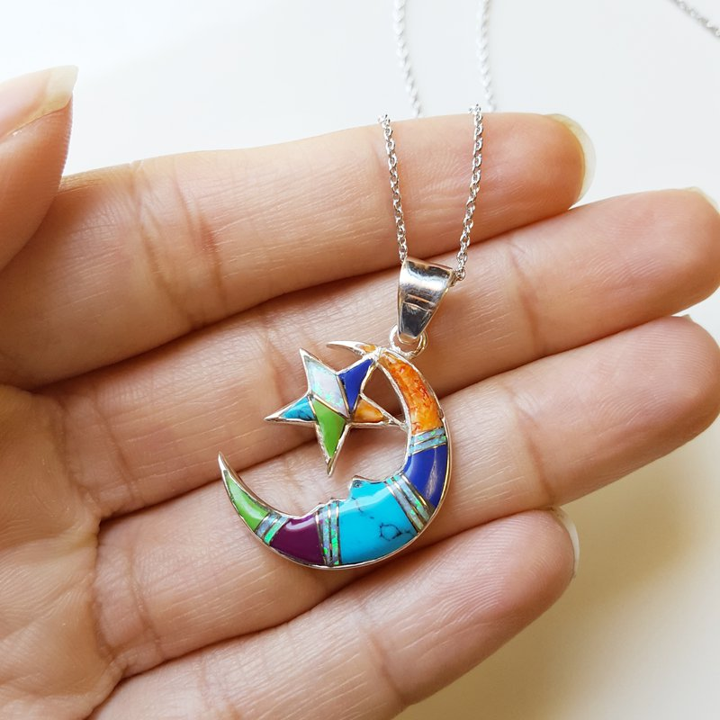 Arizona Turquoise and Inlaid Jewelry Multicolored Moon and Star Pendant