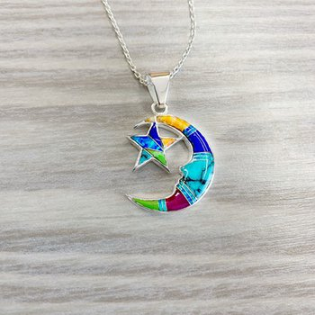 Multicolored Moon and Star Pendant