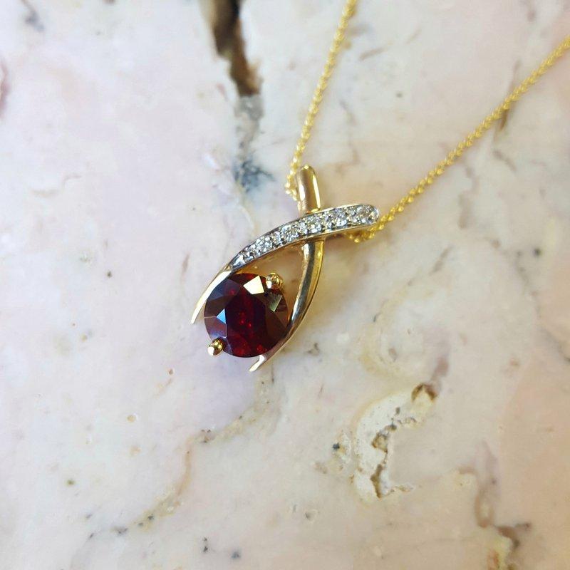 Arizona Anthill Garnet Gold Jewelry Garnet Criss Cross Pendant