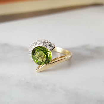 Peridot Checkerboard Cut Ring