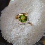 Arizona Peridot Gold Jewelry Peridot Checkerboard Cut Ring