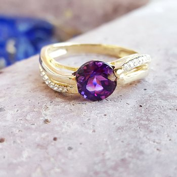 Amethyst Ring with Diamond Accents