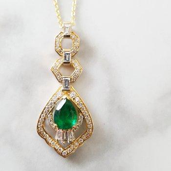Elegant Pear Cut Emerald Necklace