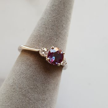 Alexandrite 3 Stone Ring