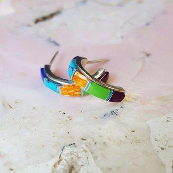 Multicolor AZ Turquoise Half Hoops