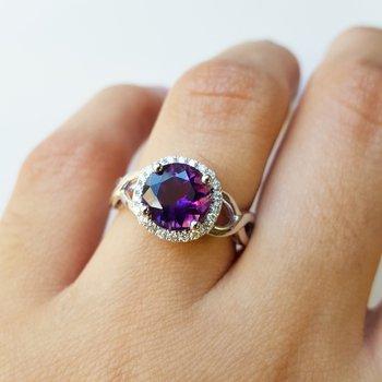 Halo Round Arizona Amethyst Ring