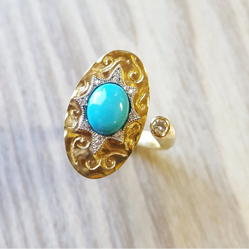Luxury by Rene Hernandez Open Turquoise Ring