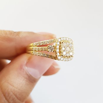Yellow Gold Square Pavé Halo Ring