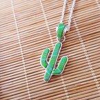 Arizona Turquoise and Inlaid Jewelry Gaspeite Saguaro Cactus Pendant